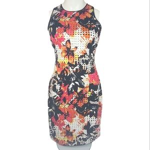 Andrew Marc New York Floral Cut Out Midi Dress